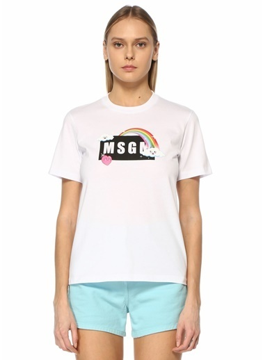 MSGM MSGM  Logo Baskılı T-shirt 101602567 Beyaz